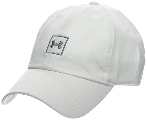 Under Armour Men's Washed Cotton Cap - Gorra, Hombre, Blanco (White/Steel 100) Talla única