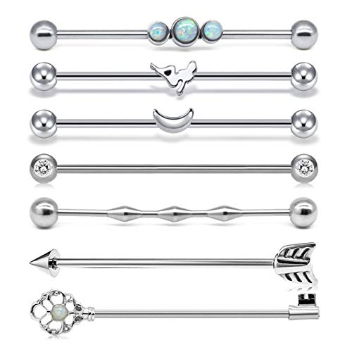 Briana Williams 7pcs Piercing Industrial del Oreja Acero Inoxidable 14G 38mm Barbell Andamio Barras Plata Larga Pendientes