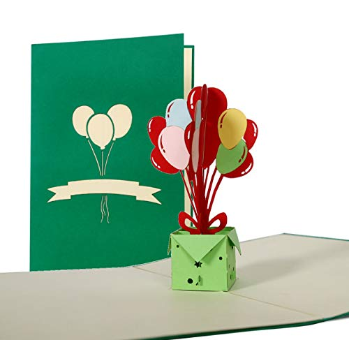 Pop Up carte d'anniversaire avec ballons, idéal comme invitation ou glueckwunschkarte, Happy Birthday carte G15