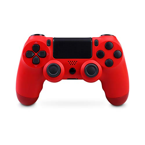 Mando Inalámbrico para PS4, Mando Inalámbrico Gamepad Doble Vibración Seis Ejes Mando Game Compatible con Playstation 4/PS4 Slim/PS4 Pro (rojo)
