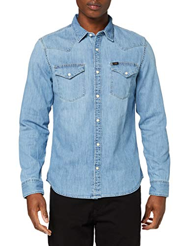 Lee Western Shirt Camisa, Frost Blue, Large para Hombre