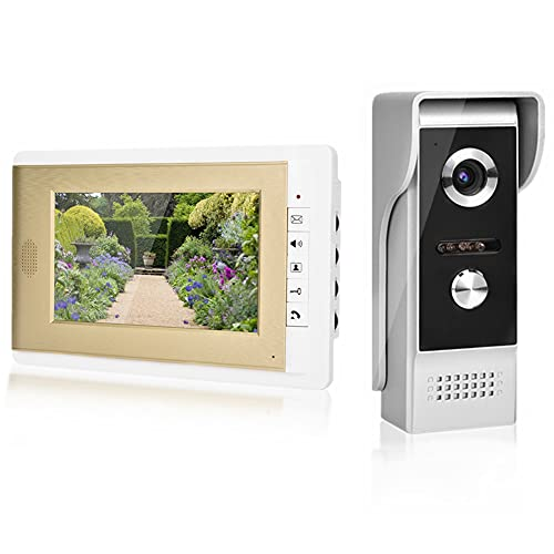 Color videoportero,7 TFT LCD Monitor HD Timbre Video Portero Kit Intercom Doorbell con Visión Nocturna Impermeable (EU)