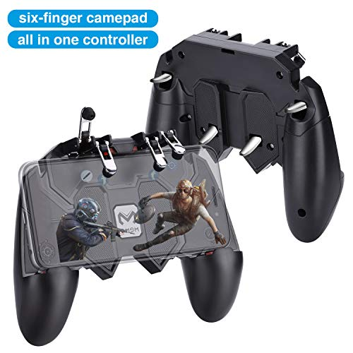 HEYSTOP AK66 PUBG Controlador de Dispositivo Móvil [Upgraded Version/Six-Finger Operation] Controlador Móvil Ajustable de Mano Smart Phone Gamepad para iOS y Android Varios Juegos (4 disparadores)