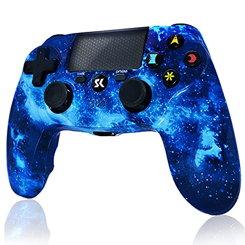 CHENGDAO Mando inalámbrico para PS4, Gamepad Dual Shock de Alto Rendimiento para Playstation 4 / Pro/Slim/PC con función de Audio, Mini LED (Blue)